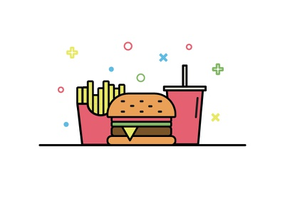 Fast Food vector icon vector art linear icons flat design fast food icons chips burger