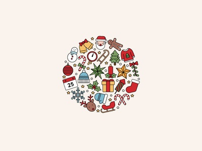 Looking Forward winter icon vector iconography flat linear christmas icons