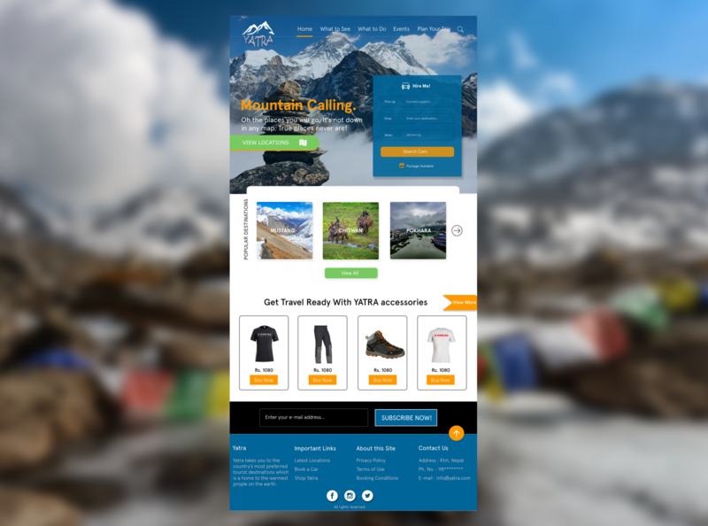 yatra web travel website homepage landing page e-commerce car rental locations typography design photoshop