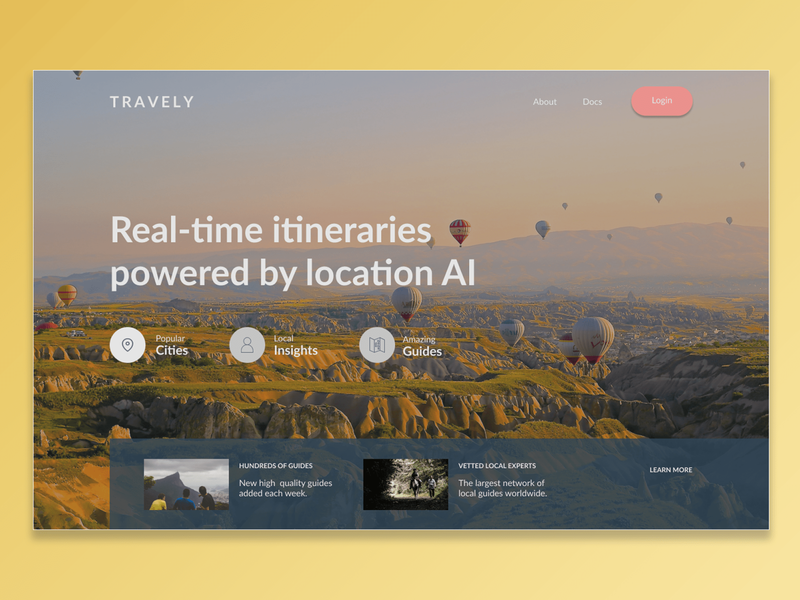 Travely Landing-page spacing typogaphy gradient photoshop landing page design travel trial figmadesign