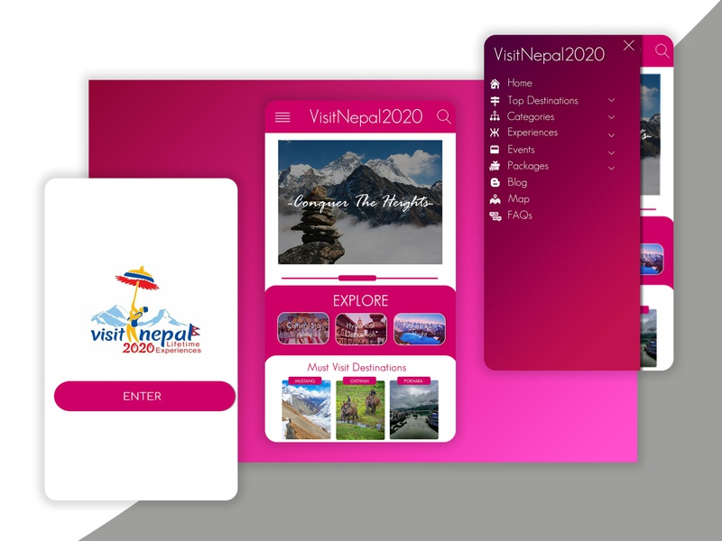 Visit Nepal 2020 mobile app travel guide travel app travel mobile ui mobile app design gradient design gradient background design ui typography app design photoshop