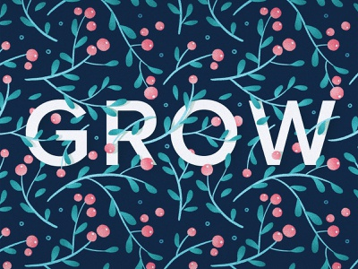 Grow grow design typography illustration floral surface design pattern