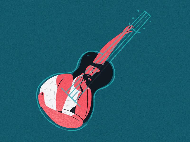 Comfort in Objects: Ukulele procreate illustration comfort objects ukulele girl