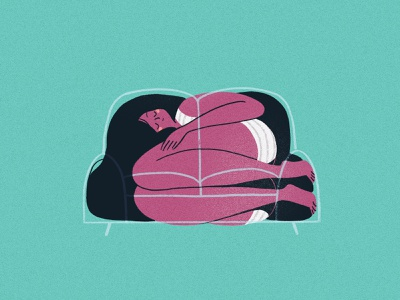 Comfort in Objects: Couch relaxation rest sleep comfort couch girl cute design illustration