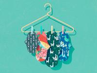 Cloth Pads dragons cute menstruation pattern reusable period procreate illustration