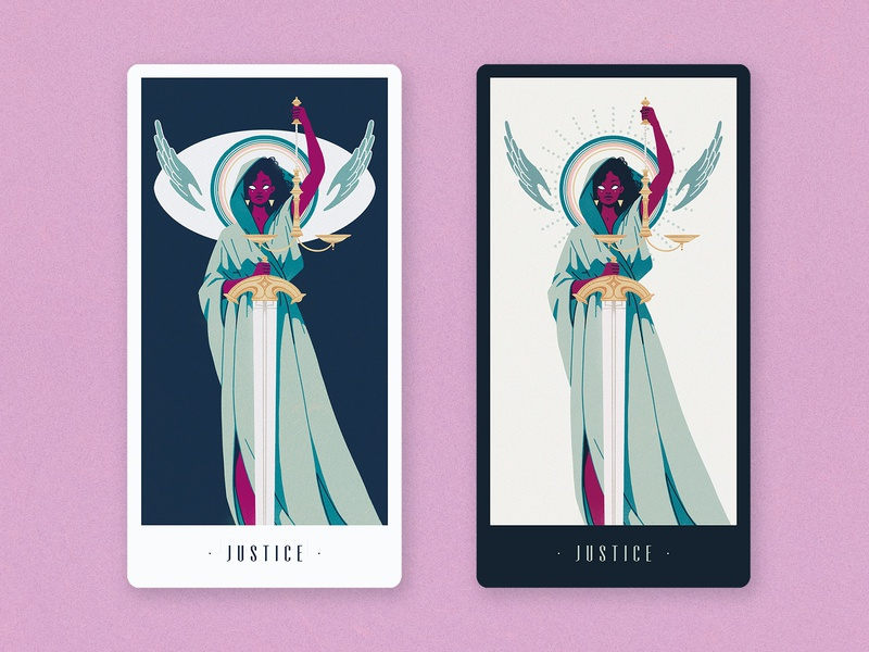 Tarot: Justice fairness eye wings scales sword lady justice justice design tarot card illustration
