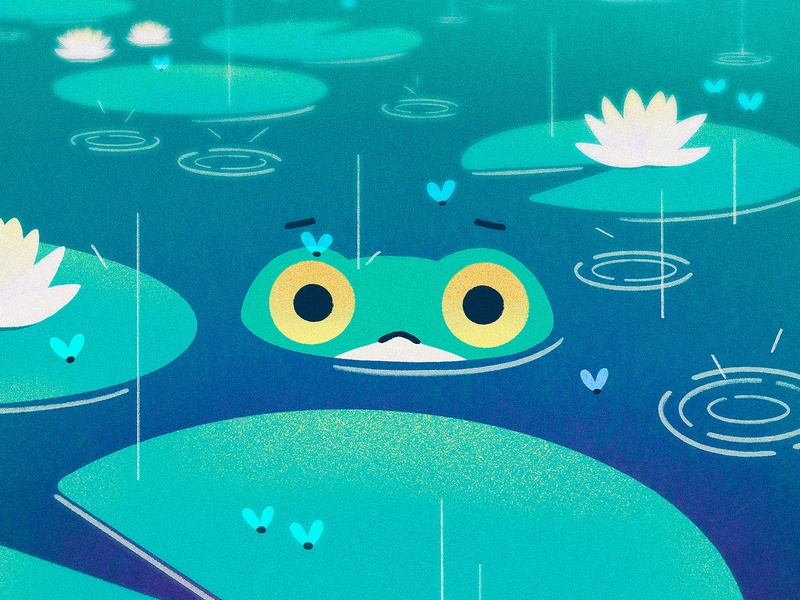 PONDering Existence procreate anxious sad cute lotus illustration flies rain pond frog