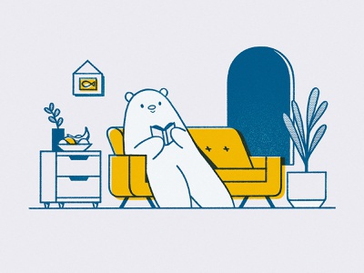 It's Un-bear-able Outside polarbear cute reading book reading window sofa yellow couch livingroom air quality bear
