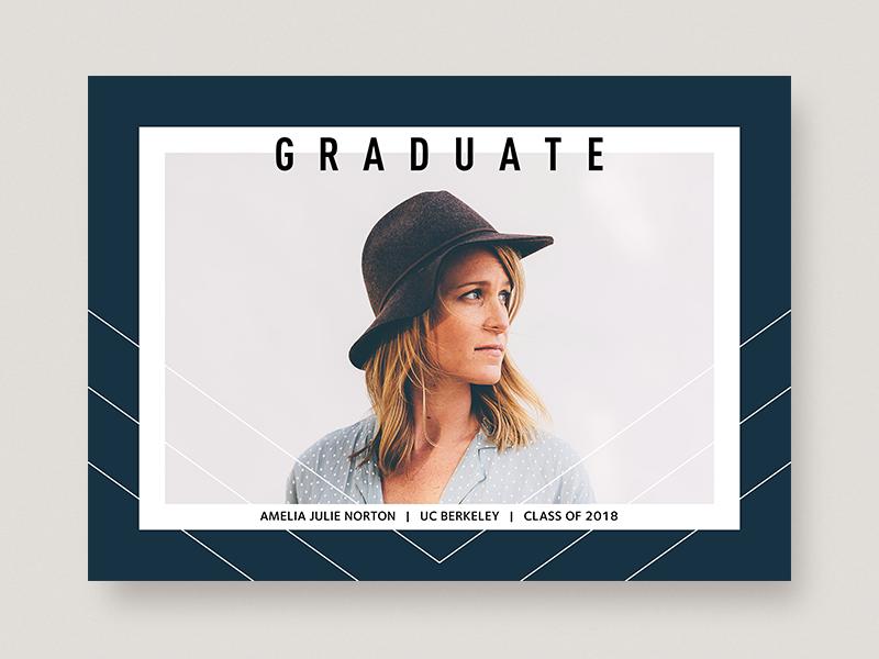 Graduate geometric chevron typography greeting card photo card graduation