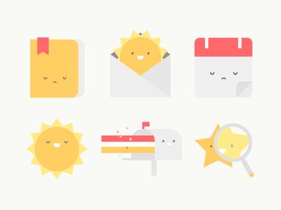 App Illustrations address book mailbox calendar magnifying glass sun star app design product icon illustration