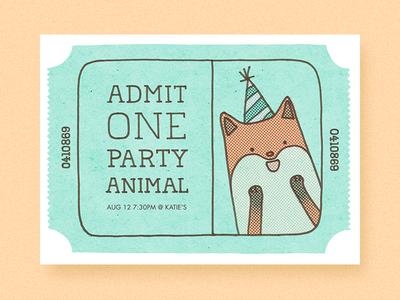 Admits One birthday party ticket cute illustration card design invitation greeting card fox