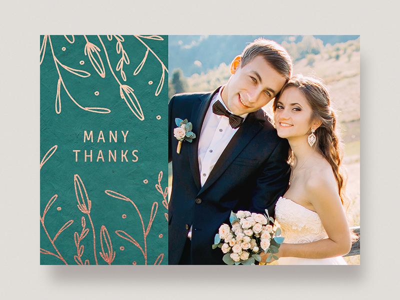 Wedding Thank You rose gold foil autumn greeting card photo card many thanks thank you wedding