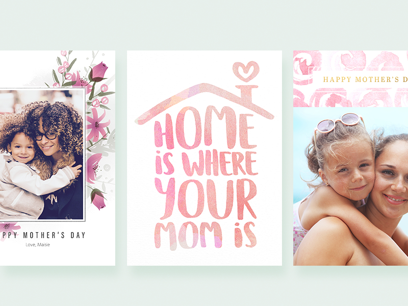 Mother's Day Cards pink mothers day watercolor flowers lettering greeting card photo card