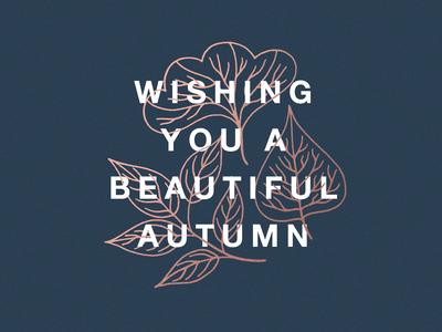 Beautiful Autumn leaves typography autumn fall illustration design greeting card photo card