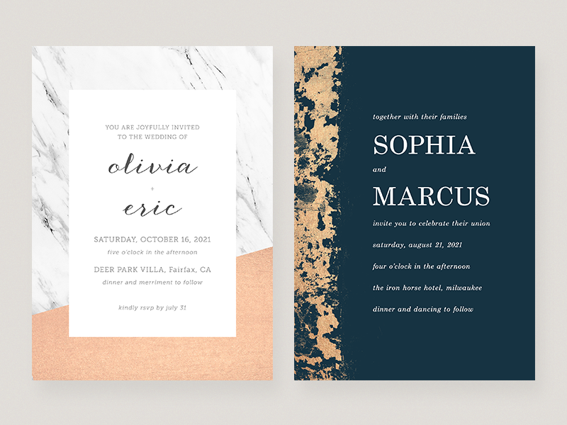 Wedding Invitations grunge marble texture layout invitation invite card design wedding typography