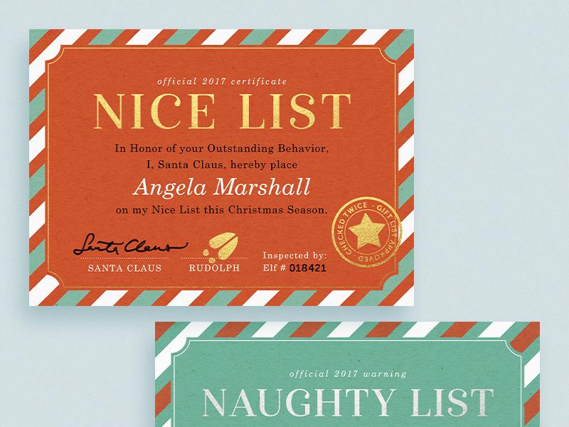 Nice & Naughty List stamp design certificate santa naughty nice typography greeting card holiday christmas