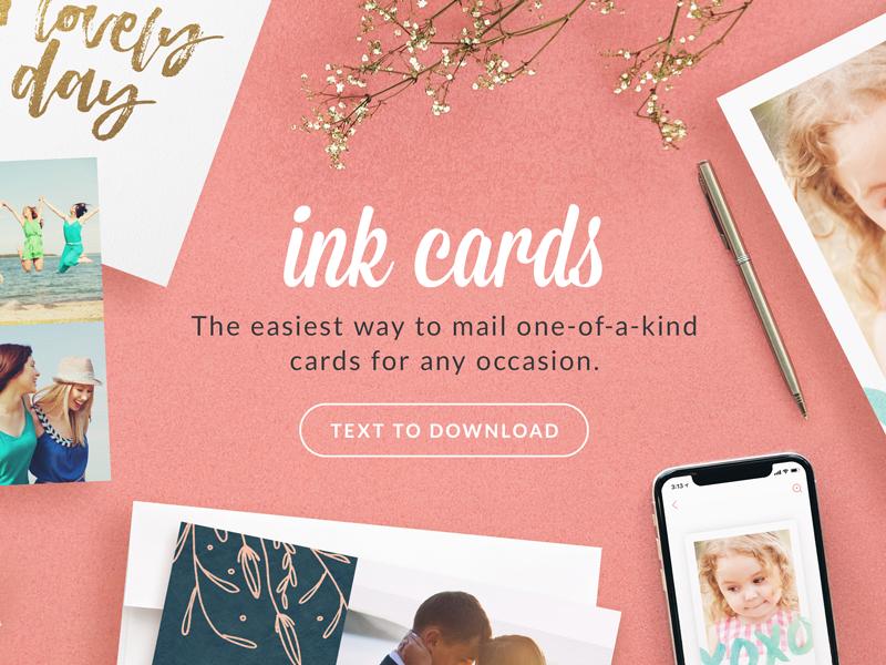 Ink Cards Website Prototype pink flat lay typography layout design prototype header website ink cards