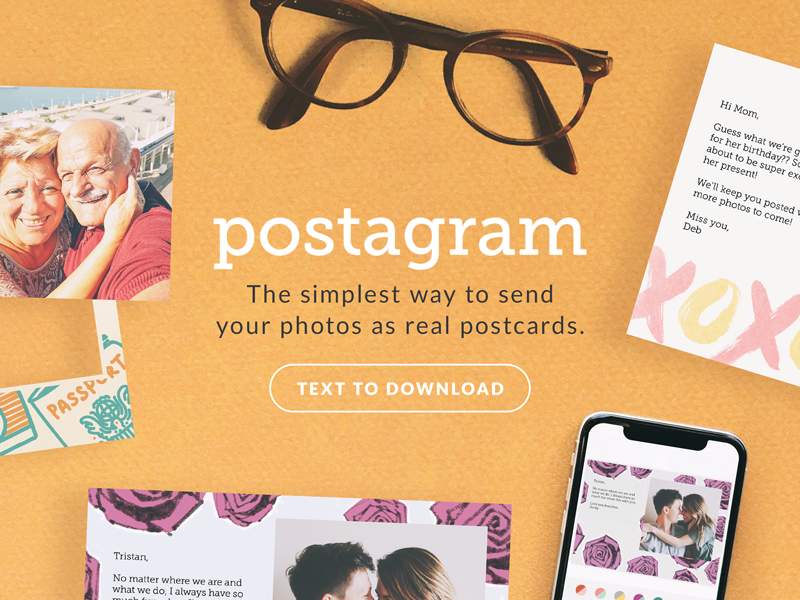 Postagram Website Prototype orange yellow prototype header design postagram flat lay typography layout website