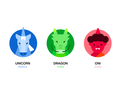 Mythological Creatures Icon icon set creatures mythological oni dragon unicorn color illustration icon