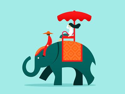 Thailand trip red green elephant illustration trip thailand
