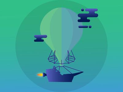 Hot Air Balloon Pirate Ship Illustration