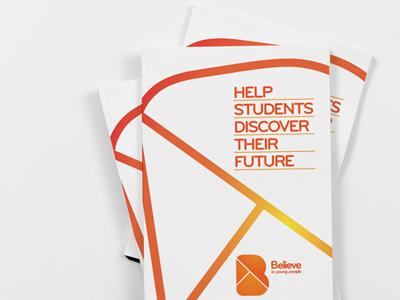 Brochure stack brochure cover orange b logo brandmark brand