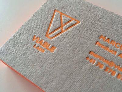 Letter press details business card letterpress orange recycled printing