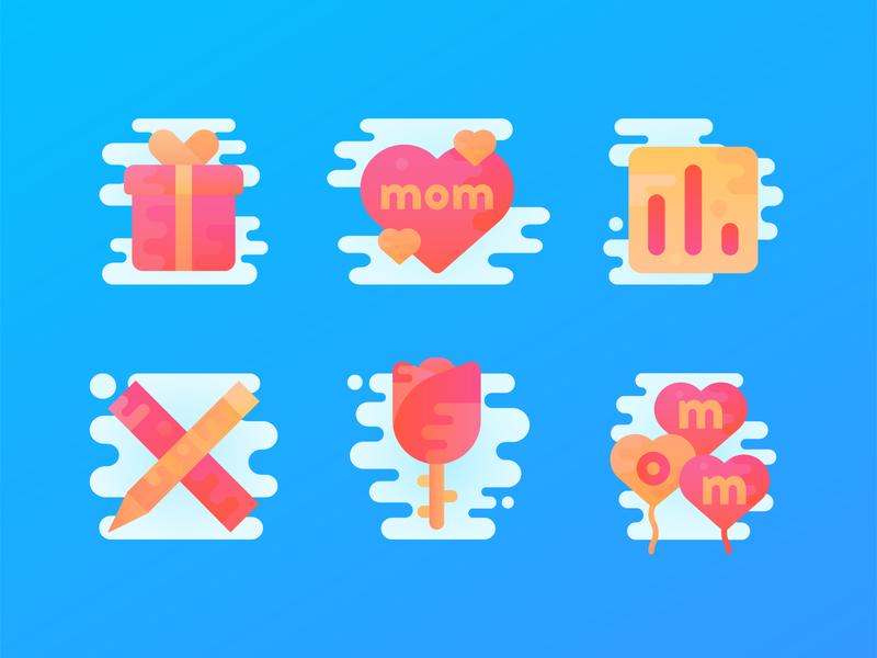 Mother's Day Icons web design branding flat logo icon minimal graphic design vector illustration