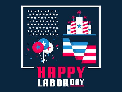 Happy Labor Day! flag america usa celebrate typogaphy web design design logo flat icon graphic design minimal branding vector illustration