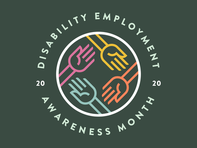 National Disability Employment Awareness Month sticker hand lines line art character hands disabled handicapped handicap graphic design badge logo icon minimal vector branding illustration