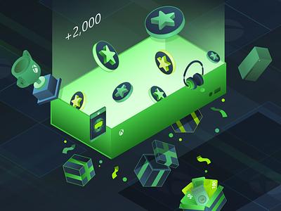 Microsoft Rewards Refresh - Monthly Challenge rewards achievement gradient isometric app 3d xbox icon minimal graphic design branding vector illustration