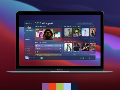 2020 Spotify Wrapped Dashboard Concept music spotify dashboard design dashboad music app minimal typography design ui