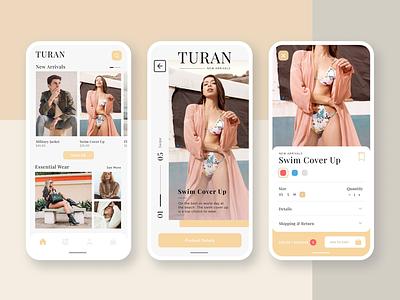 Turan Fashion e-commerce app design mobile daily ui app design ui design mobile ui mobile app ecommerce shopping app fashion app clothing design
