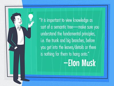 Retro Elon Musk design illustration atomic age retro elon musk