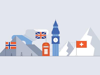 Countries mountain swiss alps telephone booth big ben european union eu switzerland england uk norway countries design illustration stylized