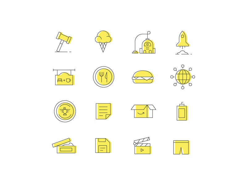 Icons paper spanx movie floppy disk cream shampoo package president business burger restaurant rocket vacuum icecream law iconography icons line stylized