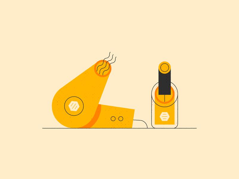 Unique Perks job benefits hair dryer dating app blow dryer nail polish job benefits perks bumble design illustration stylized