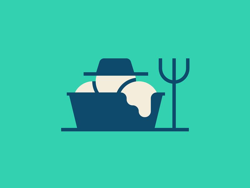 Farmer Ice Cream scoops hat ice cream cup cup vector donates dessert pitchfork farmer ice cream design illustration stylized