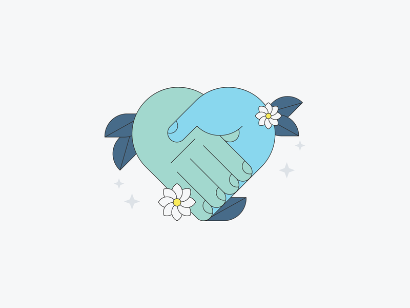Help together we got this sparkles flowers leaves helping hands helping hands design illustration stylized