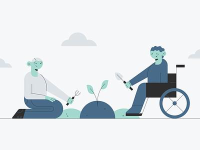 Seniors Volunteering sprout kneeling wheelchair gardening senior citizens volunteering old people seniors characters vector design illustration stylized