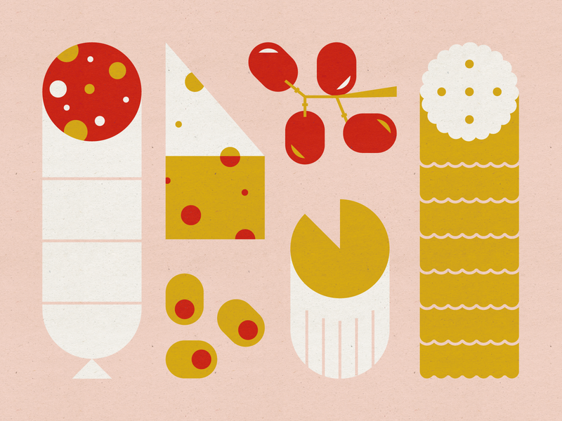 Charcuterie mid century modern food meat and cheese board salami grapes olives swiss cheese brie cheese ritz crackers charcuterie vector design illustration stylized