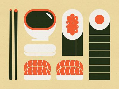 Sushi chopsticks mid century modern salmon nigiri salmon roe soy sauce chopstick holder tuna roll food sushi vector design illustration stylized