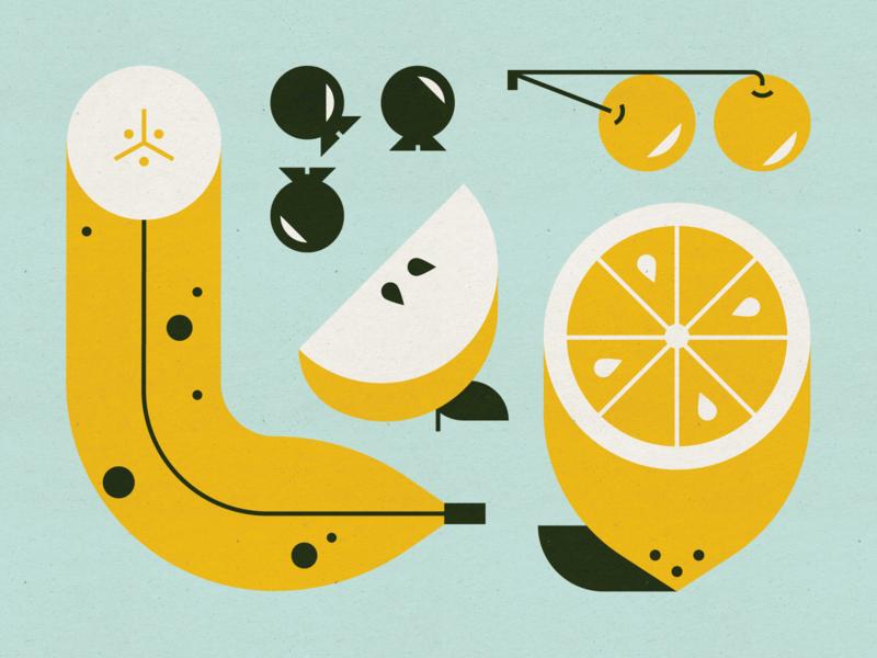 Fruit mid century modern apple cherries blueberries banana fruit design illustration stylized