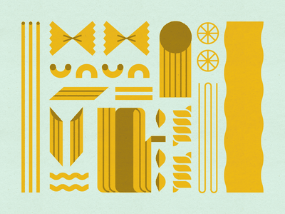 Pasta rigatoni mid century modern fusili farfalle cavatappi macaroni fettucini bucatini spaghetti shells penne lasagna pasta food design illustration stylized