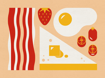 Breakfast toast cherry tomatoes strawberry egg bacon geometric mid century modern food design illustration stylized