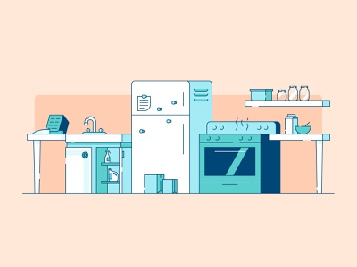 Kitchen cleaning supplies containers cereal shelves knife block sink fridge magnets oven fridge home scene kitchen design illustration