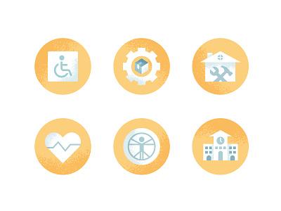 Occupational Therapy Icons assistive technology school ergonomics wellness home improvement product development handycap design illustration stylized