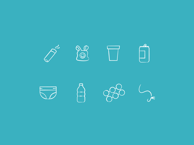 Ocean Debris Icons line art fishing line plastic ring holder water bottle diaper can styrofoam cup plastic bag cigarette butt pollution ocean debris design illustration stylized
