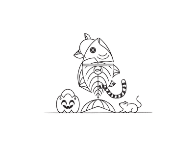 Vectober 01 – Fish pals costume halloween line drawing inktober 2020 vectober 2020 mouse cat costume skeleton fish design illustration stylized