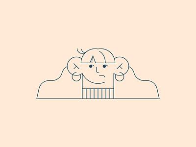 Vectober 02 – Wisp vectober inktober simple minimal girl character line design bad hair day wispy bangs bangs wisp selfportrait girl design illustration stylized